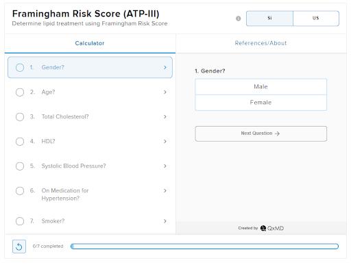 Framingham Risk Score (ATP-III) by QxMD